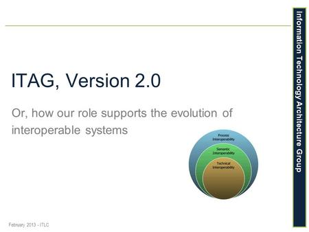 Information Technology Architecture Group ITAG, Version 2.0 Or, how our role supports the evolution of interoperable systems February 2013 - ITLC.