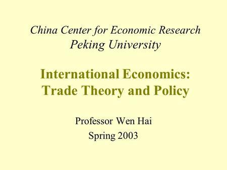 International economics controversies in trade policy