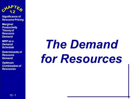 12 - 1 Significance of Resource Pricing Marginal Productivity Theory of Resource Demand MRP as a Demand Schedule Determinants of Resource Demand Optimum.