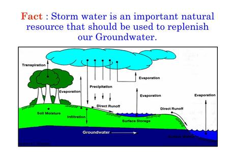 Fact : Storm water is an important natural resource that should be used to replenish our Groundwater.