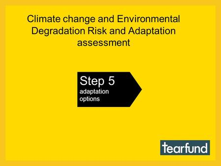 Climate change and Environmental Degradation Risk and Adaptation assessment Step 5 adaptation options.