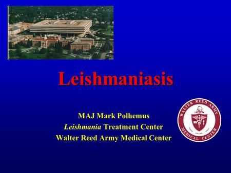 Leishmaniasis MAJ Mark Polhemus Leishmania Treatment Center Walter Reed Army Medical Center.