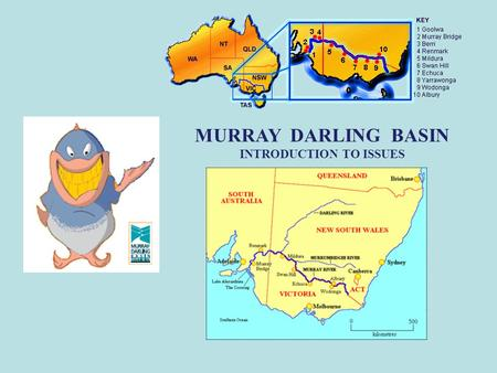MURRAY DARLING BASIN INTRODUCTION TO ISSUES. MURRAY DARLING BASIN The Murray Darling Basin is the area of land that makes up the catchment of the River.
