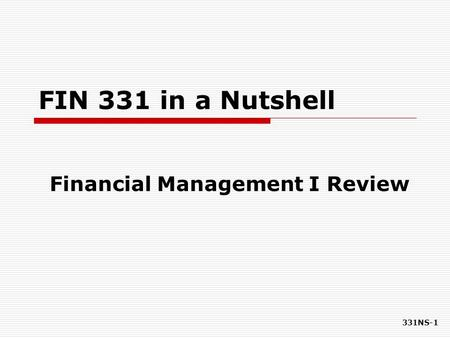 Financial Management I Review