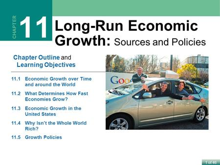 1 of 46 CHAPTER 11 Long-Run Economic Growth: Sources and Policies Chapter Outline and Learning Objectives 11.1Economic Growth over Time and around the.