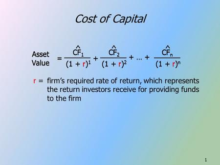 Cost of Capital = Asset Value CF 1 (1 + r) 1 ^ + CF 2 (1 + r) 2 ^ + … + CF n (1 + r) n ^ r = firm's required rate of return, which represents the return.