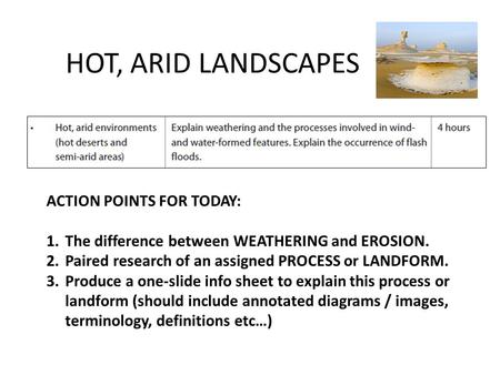 HOT, ARID LANDSCAPES ACTION POINTS FOR TODAY: 1.The difference between WEATHERING and EROSION. 2.Paired research of an assigned PROCESS or LANDFORM. 3.Produce.