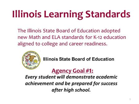 Illinois Learning Standards The Illinois State Board of Education adopted new Math and ELA standards for K-12 education aligned to college and career readiness.