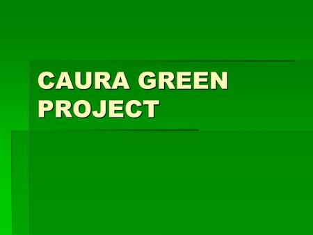 CAURA GREEN PROJECT. OBJECTIVES Community based integrated development initiative –Development of a viable community –Creation and maintenance of sustainable.