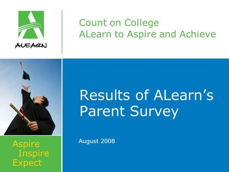 Count on College ALearn to Aspire and Achieve Aspire Inspire Expect Results of ALearn's Parent Survey August 2008.