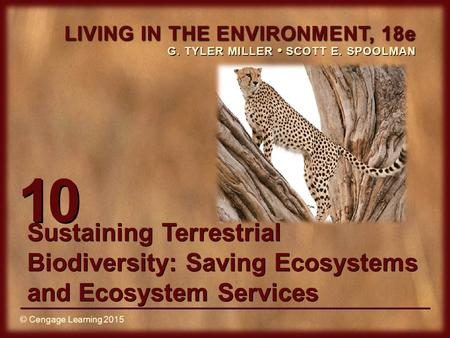 © Cengage Learning 2015 LIVING IN THE ENVIRONMENT, 18e G. TYLER MILLER SCOTT E. SPOOLMAN © Cengage Learning 2015 10 Sustaining Terrestrial Biodiversity: