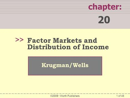 1 of 48 WHAT YOU WILL LEARN IN THIS CHAPTER chapter: 20 >> Krugman/Wells ©2009  Worth Publishers Factor Markets and Distribution of Income.