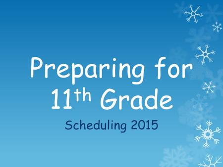 Preparing for 11 th Grade Scheduling 2015. Standard Diploma Requirements English4 Math3 Science3 History3 PE2 Foreign Language, Fine Arts, Career or Technical.