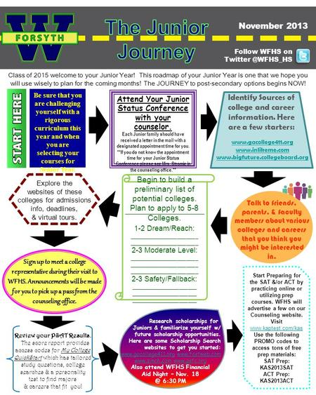 Class of 2015 welcome to your Junior Year! This roadmap of your Junior Year is one that we hope you will use wisely to plan for the coming months! The.