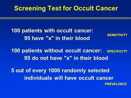 Screening Test for Occult Cancer 100 patients with occult cancer: 95 have x in their blood 100 patients without occult cancer: 95 do not have x in.