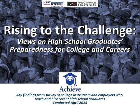 Rising to the Challenge: Views on High School Graduates' Preparedness for College and Careers Rising to the Challenge: Views on High School Graduates'