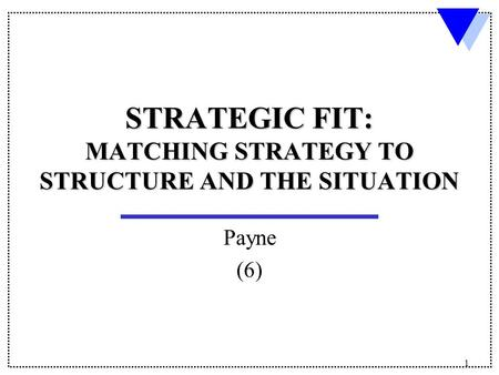 1 STRATEGIC FIT: MATCHING STRATEGY TO STRUCTURE AND THE SITUATION Payne (6)