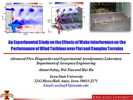 An Experimental Study on the Effects of Wake Interference on the Performance of Wind Turbines over Flat and Complex Terrains Advanced Flow Diagnostics.