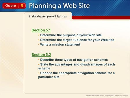 Section 5.1 Section 5.2 Determine the purpose of your Web site