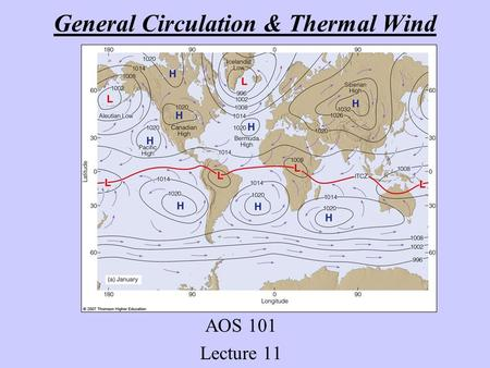 General Circulation & Thermal Wind AOS 101 Lecture 11.