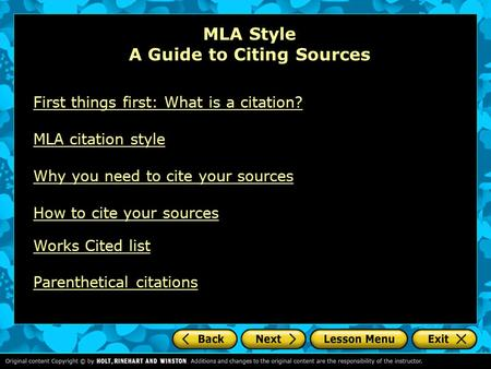 MLA Style A Guide to Citing Sources First things first: What is a citation? MLA citation style Why you need to cite your sources How to cite your sources.