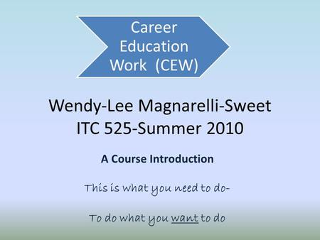 Wendy-Lee Magnarelli-Sweet ITC 525-Summer 2010 A Course Introduction This is what you need to do- To do what you want to do Career Education Work (CEW)