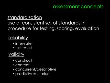 Assessment concepts reliability validity inter-rater test-retest construct content concurrent/descriptive predictive/criterion standardization use of consistent.