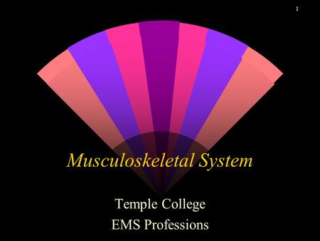 1 Musculoskeletal System Temple College EMS Professions.