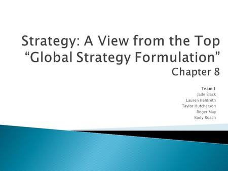 global strategy formulation Chapter preview key factors that drive industry globalization formulation of global strategies at the microeconomic, corporate, level unique risks associated with operating on a global scale and how to mitigate those risks.