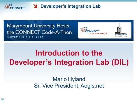 Developer's Integration Lab Introduction to the Developer's Integration Lab (DIL) Mario Hyland Sr. Vice President, Aegis.net 1.