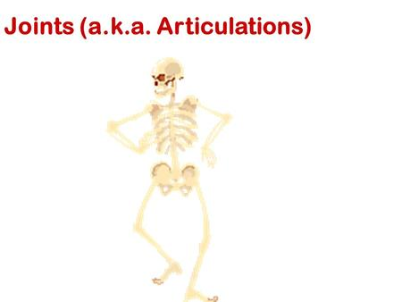 Joints (a.k.a. Articulations). I. Introduction A.Joint 1. articulation 1. Also called an articulation 2. Defined: A joint is a point of contact between.