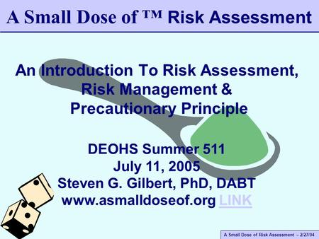A Small Dose of Risk Assessment – 2/27/04 An Introduction To Risk Assessment, Risk Management & Precautionary Principle A Small Dose of ™ Risk Assessment.