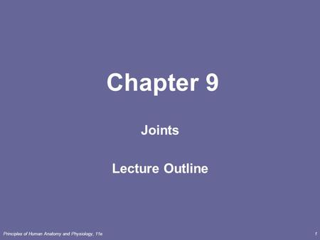Joints Lecture Outline
