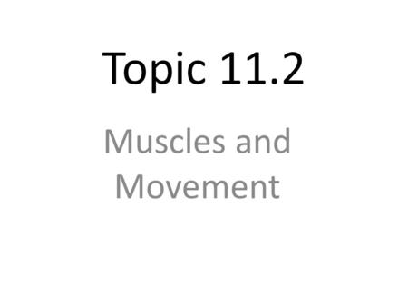 Topic 11.2 Muscles and Movement.