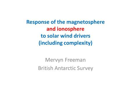 Mervyn Freeman British Antarctic Survey