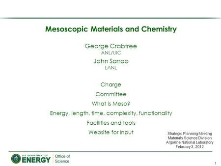 Mesoscopic Materials and Chemistry George Crabtree ANL/UIC John Sarrao LANL Charge Committee What is Meso? Energy, length, time, complexity, functionality.
