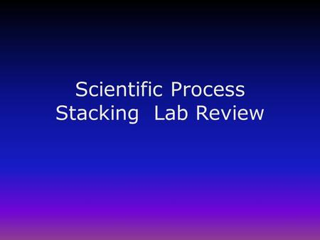 Scientific Process Stacking Lab Review. Scientific Process Labs in the past were graded on content of the unit, (ex. moon phases). Now labs are graded.