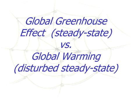 Global Greenhouse Effect (steady-state) vs. Global Warming (disturbed steady-state)