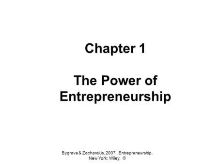 Chapter 1 The Power of Entrepreneurship