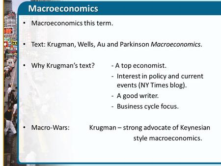 Macroeconomics Macroeconomics this term.