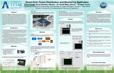 Smart-Grid: Power Distribution and Monitoring Application Cheryl Limas, Daniel Rendon, Advisor – Dr. David Wetz, Advisor – Gregory Turner Department of.