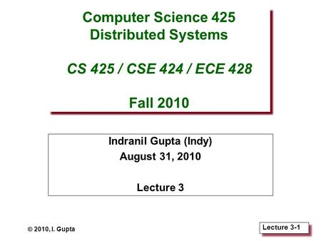 Lecture 3-1 Computer Science 425 Distributed Systems CS 425 / CSE 424 / ECE 428 Fall 2010 Indranil Gupta (Indy) August 31, 2010 Lecture 3  2010, I. Gupta.