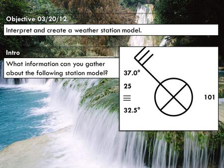 IntroIntro Objective 03/20/12 Interpret and create a weather station model. What information can you gather about the following station model? 101 25 32.5°