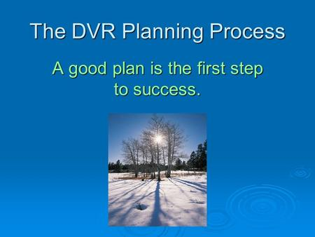 The DVR Planning Process A good plan is the first step to success.
