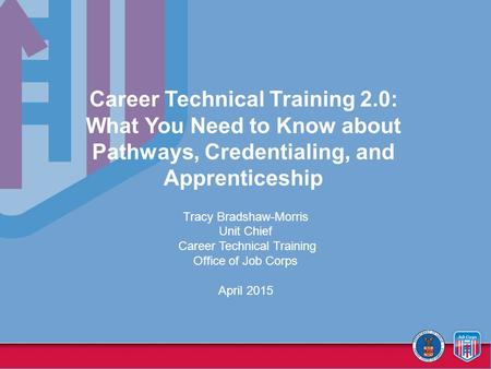 Career Technical Training 2.0: What You Need to Know about Pathways, Credentialing, and Apprenticeship Tracy Bradshaw-Morris Unit Chief Career Technical.