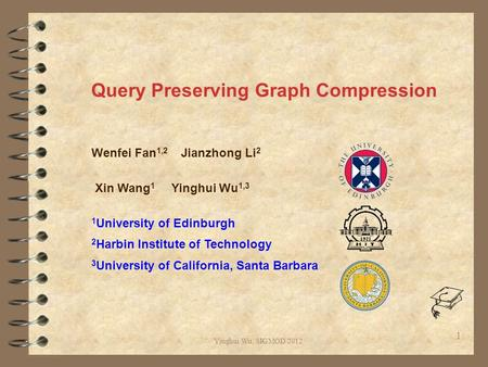 Yinghui Wu, SIGMOD 2012 Query Preserving Graph Compression Wenfei Fan 1,2 Jianzhong Li 2 Xin Wang 1 Yinghui Wu 1,3 1 University of Edinburgh 2 Harbin Institute.