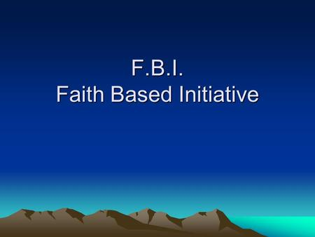 F.B.I. Faith Based Initiative. Sample SCREEN SHOT ONLY.