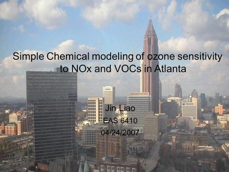 Simple Chemical modeling of ozone sensitivity