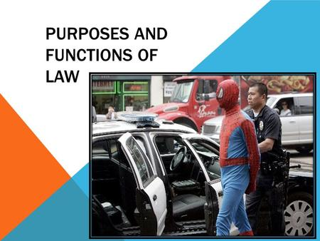 PURPOSES AND FUNCTIONS OF LAW. What is the function of law? How effective do you believe our laws are?
