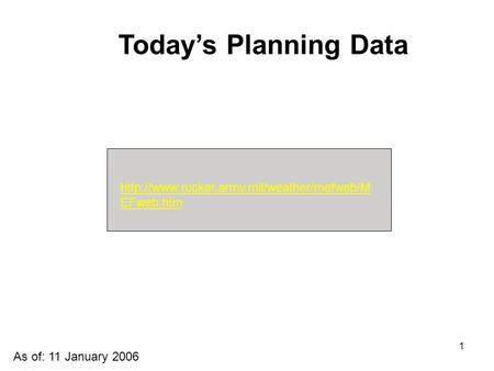 1  EFweb.htm Today's Planning Data As of: 11 January 2006.